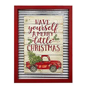 OUCHAN-Christmas-Galvanized-Corrugated-Distressed-Frame-Red-Truck-Wall-Art-Sign-PlaqueHave-Yourself-A-Merry-Little-Christmas