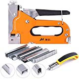 Swpeet 3-in-1 Staple Gun Kit with Staple Remover and 500 Staples Selection Pack,Hand Operated Carbon Steel Gun Tacker Tool for Upholstery, Fixing Material, Decoration, Carpentry, Furniture
