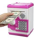 Elemusi Cartoon Electronic Password Mini ATM Piggy Bank Cash Coin Can Auto Scroll Paper Money Saving Box, for Children Kids (Pink)