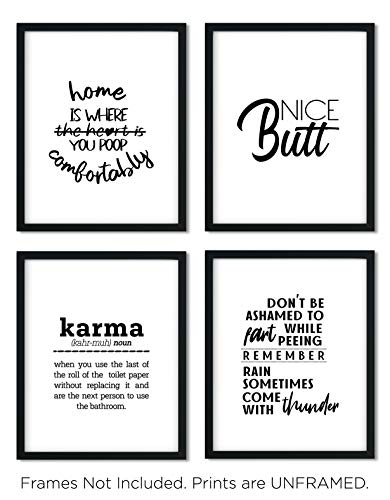 Funny Bathroom Art Prints Home Is Where You Poop Comfortably