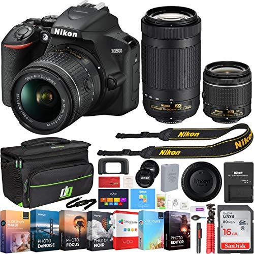 Nikon D3500 24.2MP DSLR Camera w/ 18-55mm VR Lens & 70-300mm Lens, Deco Gear Camera Bag (Medium), Sandisk 16GB Memory Card and Professional Editing Suite