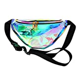 Zicac Unisex Transparent Clear Laser Leather Waist Packs Fanny Pack Purse (Green)