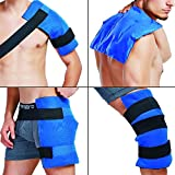 WORLD-BIO Large Flexible Gel Ice Pack & Wrap, Hot & Cold Therapy for Hip, Shoulder, Elbow, Back, Knee - Great Relief for Sprains, Muscle Pain, Bruises, Injuries - 11' x 14'