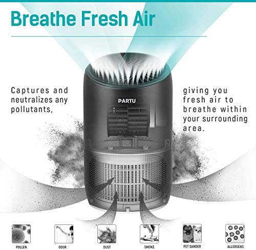 PARTU HEPA Air Purifier - Smoke Air Purifiers for Home with Fragrance Sponge - 100% Ozone Free, Lock Set, Eliminates Smoke, Dust, Pollen, Pet Dander, (Available for California) 12
