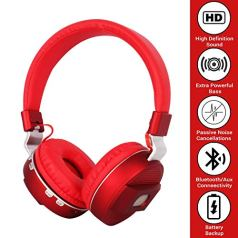 ROXO KB 360 Wireless Bluetooth Headphone with Memory Card, Aux and Speaker Support (Red)
