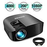 Projector, GooDee HD Video Projector 4000L Outdoor Movie Projector, 200' Home Theater Projector Support 1080P, Compatible with Fire TV Stick, PS4, HDMI, VGA, AV and USB