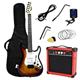 LyxPro Full Size Electric Guitar with 20w Amp, Package Includes All Accessories, Digital Tuner, Strings, Picks, Tremolo Bar, Shoulder Strap, and Case Bag Complete Beginner Starter kit Pack,Sunburst