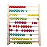 Towallmark Wooden Abacus Educational Toy for Kids, Beads Color: Yellow, Green, Orange, Blue, Shocking Pink