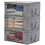 Sorbus Foldable Storage Bag Organizers, Large Clear Window & Carry Handles, Great for Clothes, Blankets, Closets, Bedrooms, and More (3-Pack, Gray)