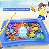 Magnetic Floating Fishing Toys Game Play-Set, Inflatable Swimming Pool Bath-tub Bathtime Toys for Kids Children Toddler Learning Education Pool Party (Blue)