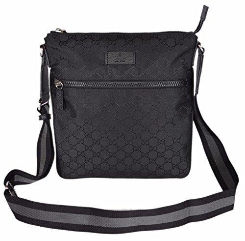 b44be6da8 Gucci Men's Nylon GG Guccissima Web Trim Crossbody Messenger Bag ...
