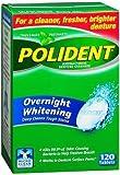 Polident Overnight Whitening, Antibacterial Denture Cleanser, Triple Mint Freshness 120 ea (Pack of 2)