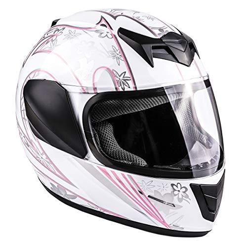 Typhoon Youth Full Face Motorcycle Helmet Kids DOT Street - White Pink Butterfly (Medium)