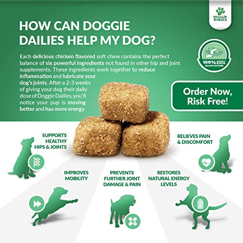 Doggie Dailies Glucosamine for Dogs: 225 Soft Chews, Advanced Hip & Joint Supplement for Dogs with Glucosamine, Chondroitin, MSM, Hyaluronic Acid & CoQ10, Premium Joint Relief for Dogs Made in the USA 7