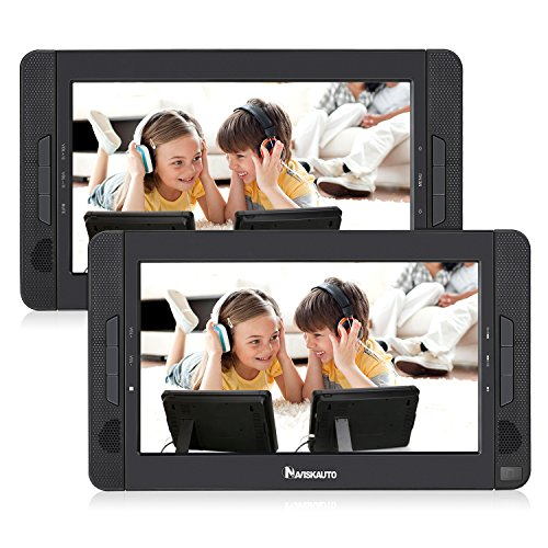NAVISKAUTO Portable DVD Player for Car with 10.1' Dual Screen, 5-Hour Rechargeable Battery and Last Memory Function (Host DVD Player+ Slave Monitor)