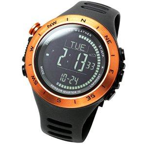 LAD-WEATHER Swiss Sensor Watch Altimeter Barometer Compass Climbing Trekking Camping Sports Outdoor Watches (Orange Black)