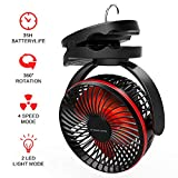 FIREOR Camping Lantern Battery Operated Fan 5000mAh USB Rechargeable with Night Light Portable Tent Ceiling Fan Personal Mini Desk Fan 4 Speed Clip & Hanging Hook for Hiking, Fishing, Indoor Outdoor