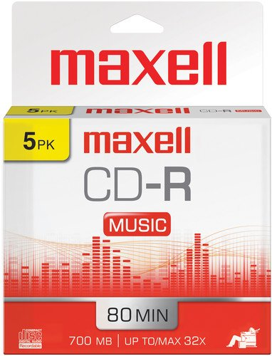Maxell 625132 1-Time Recording Recordable CD (Audio Only) 700mb/80 Min Slim Jewel