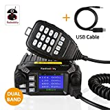 Radioddity DB25 Dual Band Quad-Standby Mini Mobile Car Truck Radio VHF UHF 25W/10W Car Transceiver with Programming Cable, Support Chirp