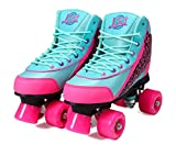 Kandy-Luscious Kid's Roller Skates - Comfortable Children's Skates with Fun Colors & Designs (Summer Days Teal and Pink) (Size 12 Junior)