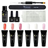 Saint-Acior Poly Nail Gel Kit Gel Nail Extension Gel Nail Enhancement Builder False Nail Tips Decoration Kit Top Coat And Base Coat