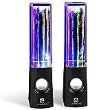 SoundSOUL Water Dancing Speakers Light Show Water Fountain Speakers LED Speakers (3.5mm Audio Plug, 4 Colored LED Lights, Portable Speakers) - Black