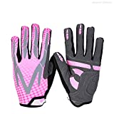 DEI QI Men's and Women's Sports Riding Gloves Full Refers to The Road Mountain Bike Women's Winter Shock Absorption Sports Non-Slip Warm (Color : Purple red, Size : M)