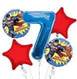 Superman Balloon Bouquet 7th Birthday 5 pcs - Party Supplies