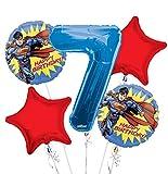Superman Balloon Bouquet 7th Birthday 5 pcs - Party Supplies