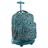 J World New York Girls' Sunrise Rolling Backpack Fashion, Mint Leopard, One Size