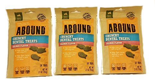 Abound Crunchy Dental Treats Salmon Flavor 3 (2.5 oz) Pack Bundle