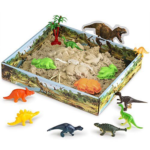 CoolSand 3D Sandbox - Dino Discovery Edition - Set Includes: 1 Pound Moldable Indoor Play Sand, Shaping Molds, Dinosaur Figures and 3D Tray