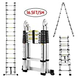 Idealchoiceproduct 16.5FT Extension Folding Telescopic Aluminium A Frame Shape Ladder Steps ...