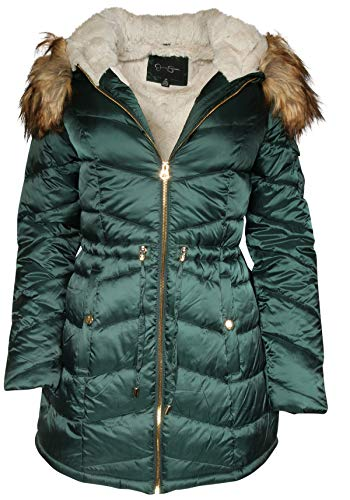 Jessica Simpson Women Satin Puffer Bubble Jacket with Full Fur Lining, Forest Green, Medium'