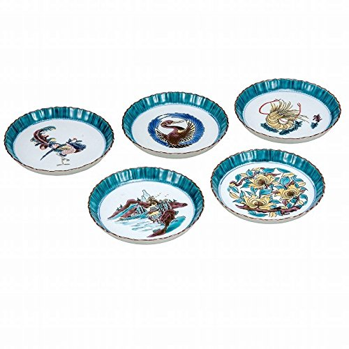 Jpanese traditional ceramic Kutani ware. Set of 5. Plates Dishes. Kokutani Phoenix. With paper box. ktn-K5-0165