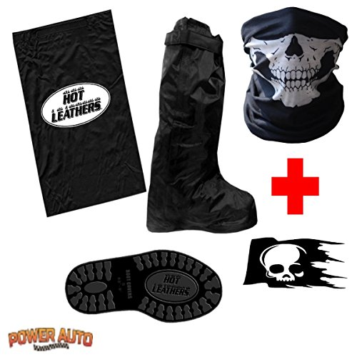 Motorcycle Boot Covers - Outdoor Protective Riding Rain Suit Gear Waterproof Weatherproof - Full Shoe Slip Over - Rainstorm Rainy Days Plus Carry Bag, Skull Decal & Skeleton Riding Face Mask (L)