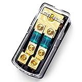 LEIGESAUDIO Copper 0/4 Gauge to 4/8 Gauge 60 Amp Mini ANL 2 Way Fuse Holder Distribution Block