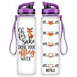 LEADO 32oz 1Liter Motivational Tracking Water Bottle with Time Marker - Oh for Fox Sake Drink Your Effing Water - Funny Birthday Gifts for Women, Wife, Mom, Daughter, Best Friend (Purple)