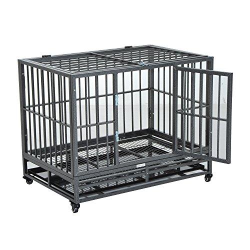 PawHut 36' Heavy Duty Steel Dog Crate Kennel Pet Cage w/Wheels - Grey Vein