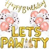 Legendog 33Pcs Dog Cat Birthday Party Supplies, Dog Girl or Boy Birthday Party Decorations, Lets Pawty Balloons Dog Cat Birthday Hat, Happy Pet Birthday Party Kit