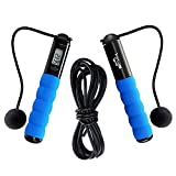 SHARBAY INC Jump Rope - Cross Fit Digital Calorie/Time/Speed/Fat/Jumping Counter Fitness Ropes for Indoor/Outdoor Exercise, Weight Setting Adjustable Sports Cable for Men Women and Children (Blue)