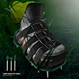 SEAST Lawn Aerator Shoes, Newest Designed 26 Spikes and 4 Adjustable Straps, Heavy Duty Spiked Sandals for aerating Your Yard, Lawn, Roots & Grass, Universal Size Fits All, 3 Shovels Included (Green)
