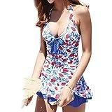 TOMORI Womens One Piece Swimsuit Strawberry Print Halter Bathing Suit Back Cross High Waist Bikini (M)
