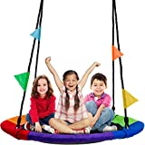 """Sorbus Saucer Tree Swing in Multi-Color Rainbow – Kids Indoor/Outdoor Round Mat Swing – Great for Tree, Swing Set, Backyard, Playground, Playroom – Accessories Included (Round – 40"""")"""