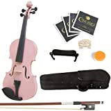 Mendini 1/4 MV-Pink Solid Wood Violin with Hard Case, Shoulder Rest, Bow, Rosin and Extra Strings