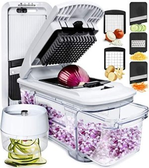 Fullstar Mandoline Slicer Spiralizer Vegetable Slicer – Vegetable Chopper Onion Chopper Food Chopper Vegetable Spiralizer Mandoline Slicer Cutter Chopper and Grater Slicer Zucchini Spaghetti Maker