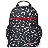 Skip Hop Duo Signature Carry All Travel Diaper Bag Backpack with Multipockets, One Size, Black White Cubes