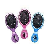 Wet Brush Multi-Pack Squirt Detangler Hair Brush with Soft IntelliFlex Bristles, Mini Travel Detangler - Pack of 3 (Pink, Purple, Blue)