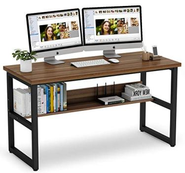 Tribesigns 55 Inches Computer Desk with Bookshelf Works as Office Desk Study Table Workstation for Home Office (55'', Dark Walnut)