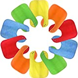 Waterproof Baby Bibs with Snaps, Unisex, Gift Box 10 Pack, Solid Colors
